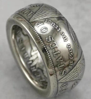 1893 Silver Morgan Dollar Coin Ring Customized In All Years Size 4 to 16 - COINSPESO