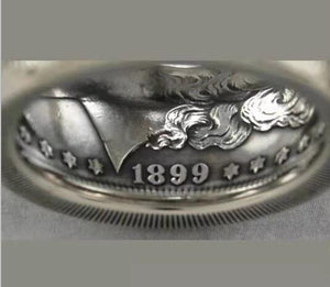 1921 Silver Morgan Dollar Coin Ring Customized In All Years Size 4 to 16 - COINSPESO