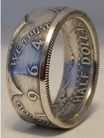 90% Silver US Kennedy '1964' Half Dollar Ring Handmade In Sizes 5-15 - COINSPESO