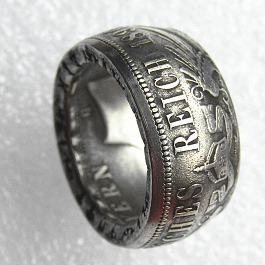 Germany Silver Coin Ring 5 MARK Bavaria 1896 Silver Plated Handmade In Sizes 5-16 - COINSPESO