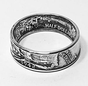 90% Silver US Walking Half Dollar Ring '1942' Handmade In Sizes 5-15 - COINSPESO
