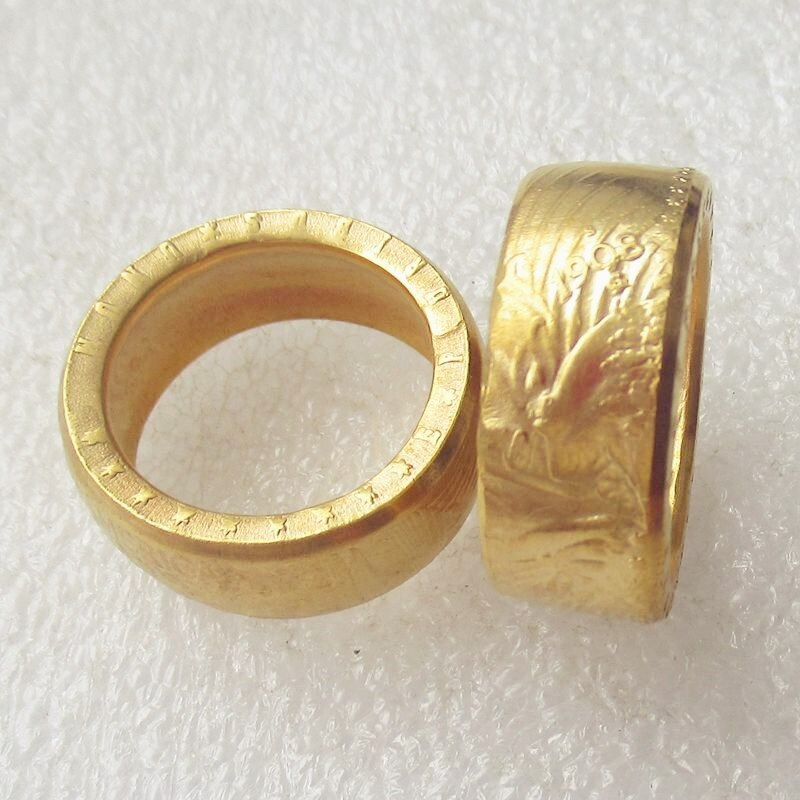 US Gold Plated Morgan dollar Coin Ring Handcrafted - COINSPESO
