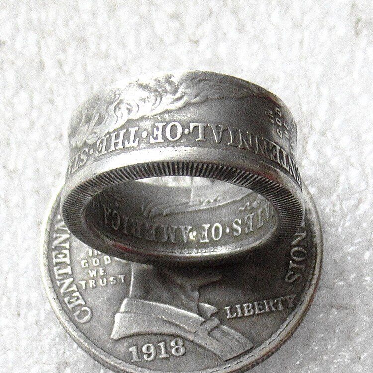 US 1918 'Head' Half Dollar Ring In Sizes 5-15 - COINSPESO