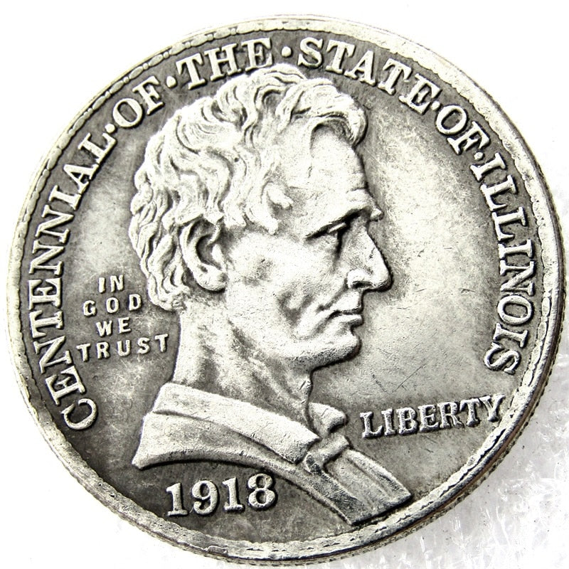 1918 Lincoln / Illinois Commemorative Half Dollars - COINSPESO