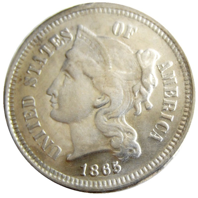 1865 THREE CENT NICKEL - COINSPESO