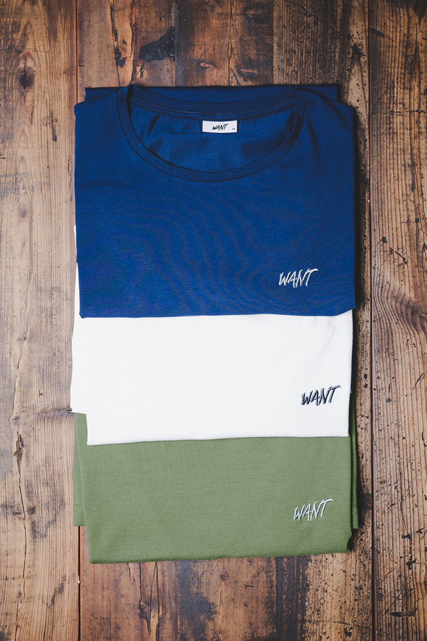 WANT Embroidered Triple Pack (White, Blue & Khaki)