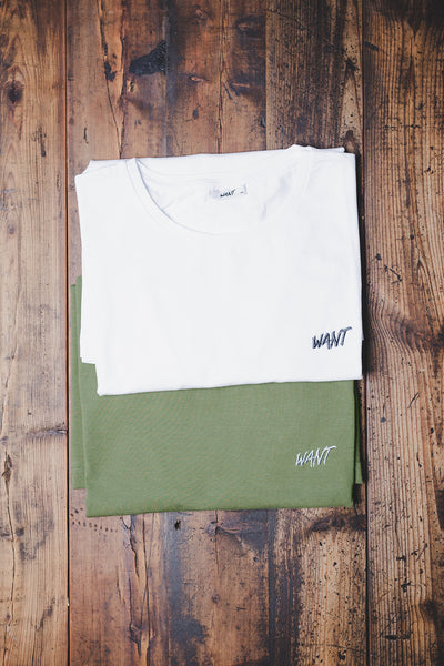 WANT Embroidered Double Pack (White & Khaki)