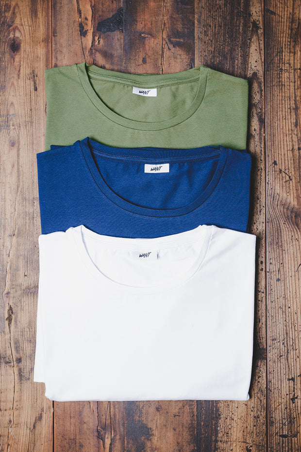WANT Essentials Triple Pack (White, Blue & Khaki)