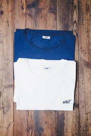 WANT Embroidered Double Pack (White & Blue)