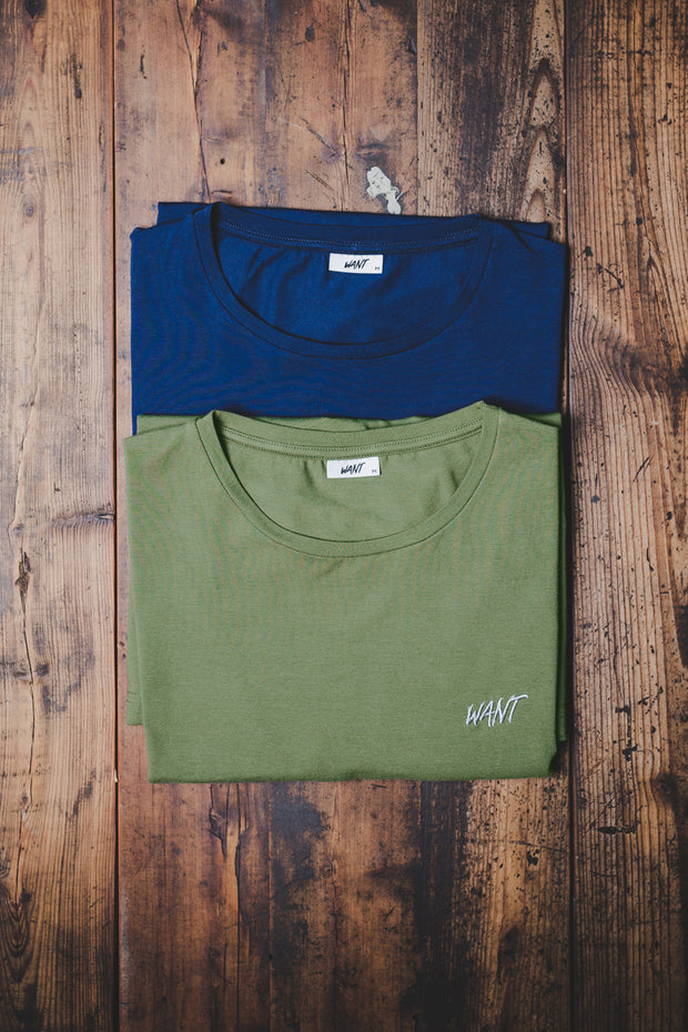 WANT Embroidered Double Pack (Blue & Khaki)