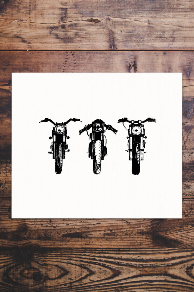 Retro 3 Bike Giclée Print