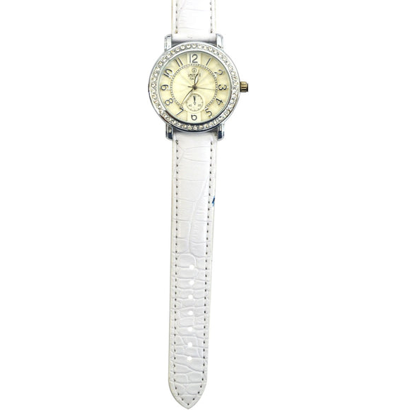 Initial ladies diamonte silver face modern design metal watch