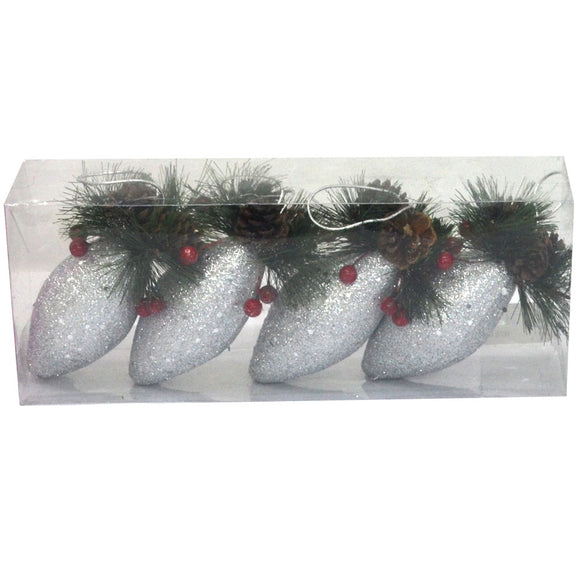 Hanging Silver Glitter Bulbs With Pine Cone