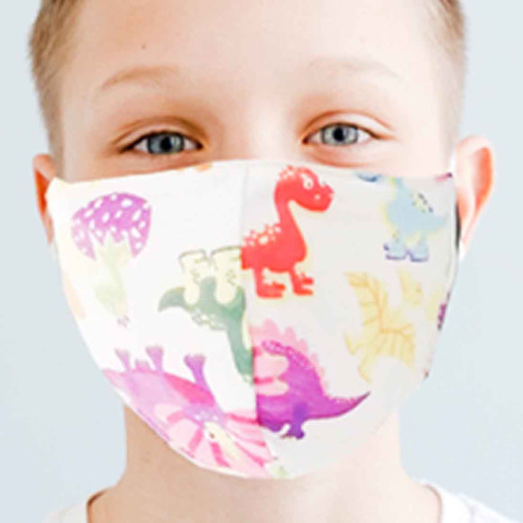 Kiddies Dino Print Material Face Mask