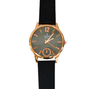 Initial gents rose gold watch modern design metal face leather strap