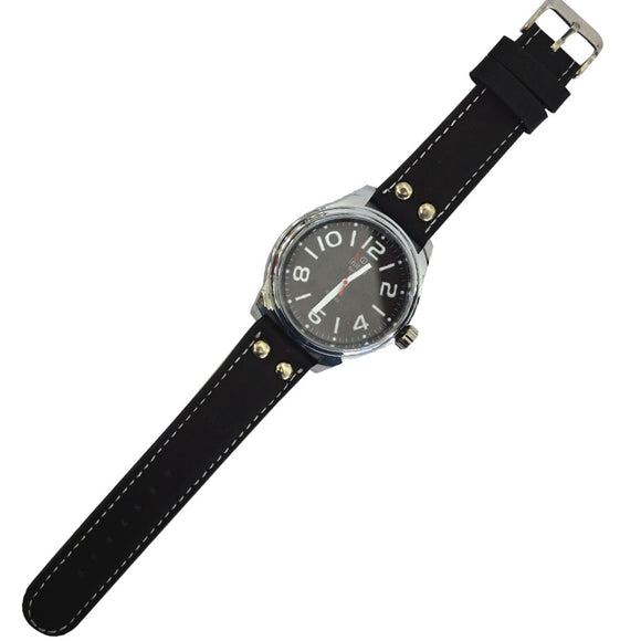 Initial Gents  modern design silver. with dial, silver & black