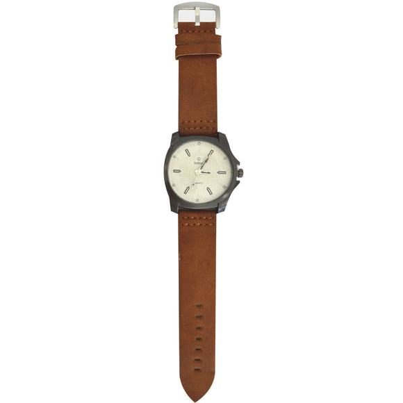 Initials Gents Morden Design Metal Face Leather watch
