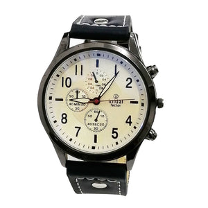Initial Gents 4CM Modern Design PU Strap Analog Watch