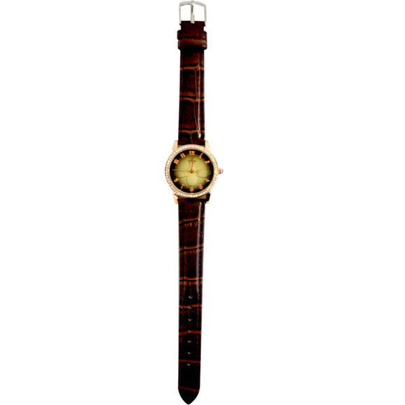 Initial ladies watches leather straps Rose Gold Diamonte Face