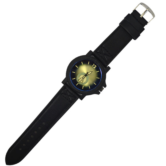 Gents modern design  metal watch with  skull face design blue, yellow and black