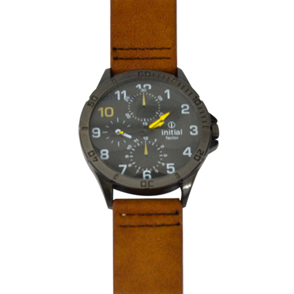 Initial gents tan watch modern design, metal face leather tan strap