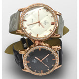 Initial Ladies metal face leather diamonte strap