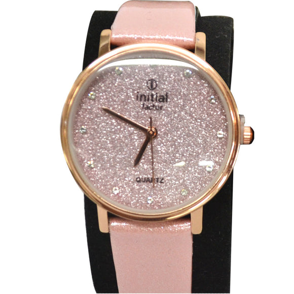 Initial ladies glitter watches leather straps