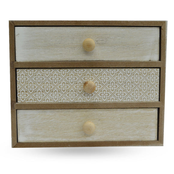 Mini Wooden Vanity 3 Drawer Box