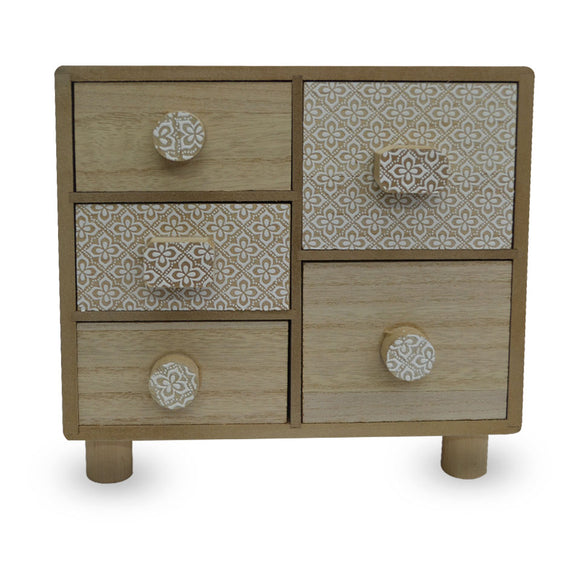 Mini Wooden Vanity 5 Drawer Box
