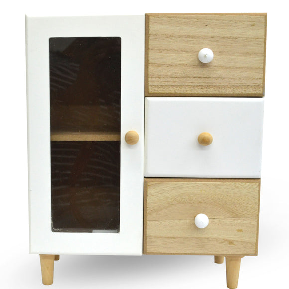 Mini Wooden Cupboard 1 Door & 3 Drawer Vanity