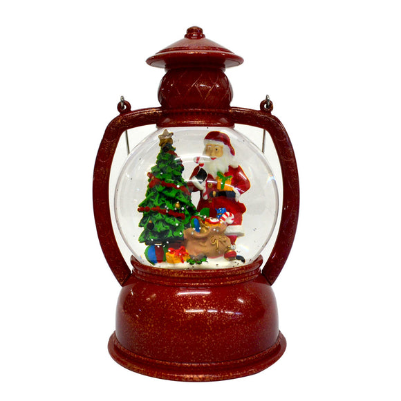 Round Christmas Light Up Lantern - Red