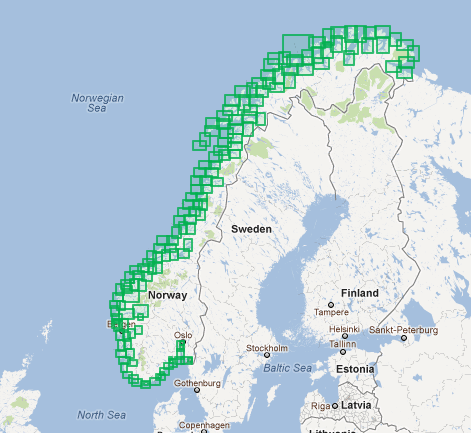Norwegian Hydrographic Service paper chart coverage