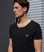 Cutted Neck Black Long T-Shirt