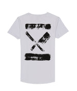 Inked Blades Cutted Neck White T-Shirt