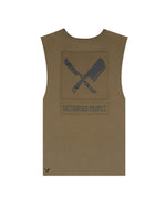 Patched Blades Olive & Black Sleeveless T-Shirt