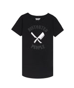 DP Team Cutted Neck Black & White Long T-Shirt