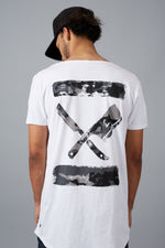 Inked Blades Cutted Neck Long White & Black Camo T-Shirt