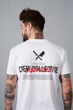 Crew Collective Crew Neck White, Black & Red T-Shirt