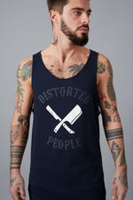 DP Team Cutted Neck Navy & White Long Tanktop