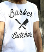 Barber & Butcher Blades Cutted Neck White T-Shirt
