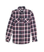 Classic Navy/Sand/Red Check Flannel Shirt