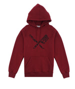 Dragon Blades Ornament Burgundy & Black Raglan Hoodie
