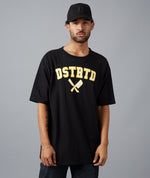 College Heavy Oversize Black, White & Yellow T-Shirt