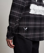 Inked Blades Black, Grey & White Check Flannel Shirt