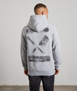 Inked Blades Needle Punch Melange Grey & Check Raglan Hoodie
