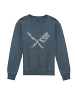 Dragon Blades Ornament Washed Steel Blue Crew Neck Sweater
