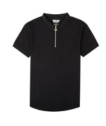 Classic Premium Half-Zip Black & Gold Polo Shirt