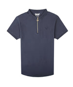 Classic Premium Half-Zip Navy & Gold Polo Shirt