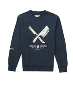 Vintage Blades Navy & White Crew Neck Sweater