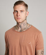 Grand Crew Neck Washed Terracotta Long T-Shirt